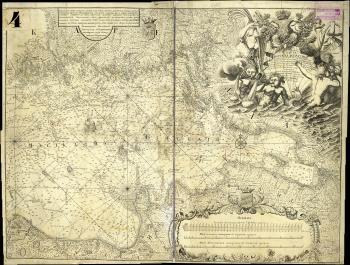 1750 г. Карта Финского залива, на которой нанесены границы Российского государства на 1721 г. по Ништадтскому мирному договору и на 1743 г. по Абоскому мирному договору. РГАВМФ. Ф. 1331. Оп. 4. Д. 281.