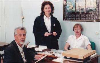 В читальном зале архива: В.Н.Гудкин-Васильев, О.С.Сигал, Н.А.Гоц. 1996 год
